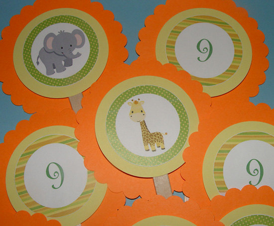 Set of 12 Jungle/Safari Themed Cupcake Toppers