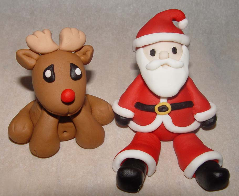Fondant Reindeer Or Santa Claus Cake Topper 4 Piece Set