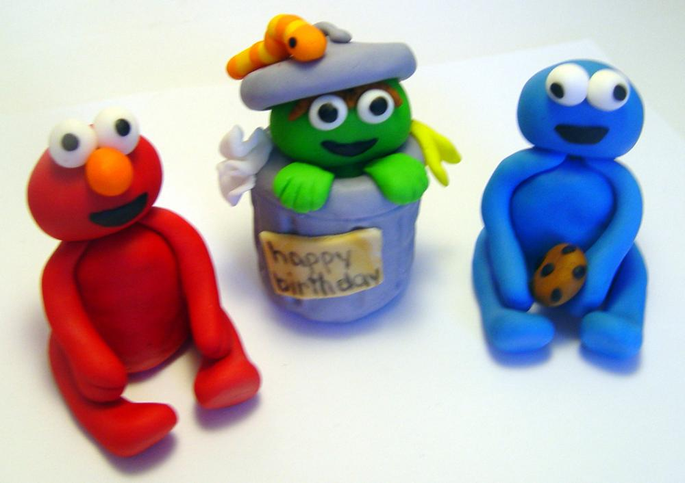 Fondant SESAME STREET Inspired Cake Toppers (set of 3)